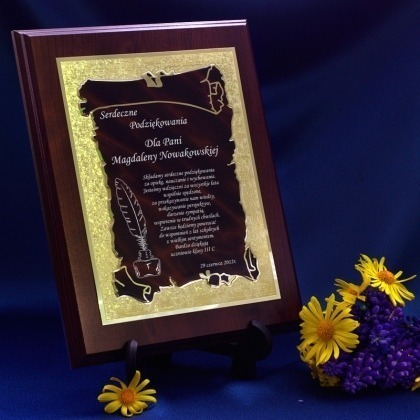 Dyplom dla nauczyciela grawerowany - brąz